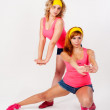 Duet of pretty girls dancing — Stock Photo