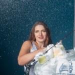 Sexy woman washing car — Stock Photo #35584371