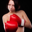 Beautiful nude girl with boxing gloves — Lizenzfreies Foto