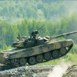 Tank T-80 shooting — Stock Photo