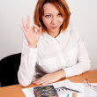 Business analyst woman with ok gesture — Stock Photo