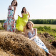 Young beautiful women on hay — Stock Photo