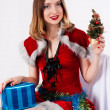 Beautiful and sexy christmas woman with gift — Stock Photo