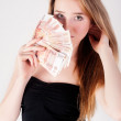 Beautiful young lady with cash — Stock Photo
