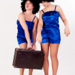 Two pretty dancers with old suitcase — Stock Photo