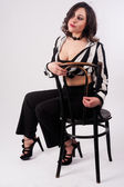 Sexy Soccer Referee on chair — Stock fotografie