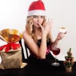 Blond woman eating cake — Stock Photo