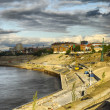 Construction of quay in Tyumen — Stock Photo