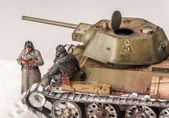 Diorama with old soviet t 34 tank — Stock Photo
