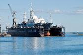Science ship in Baltiysk shipyard — Stock Photo