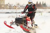 Sport snowmobile jump — Foto Stock