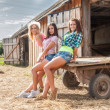 Young beautiful women on cart — Stock Photo