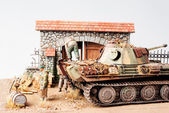 "Miniature with german tank ""Panther"" — Stockfoto"