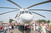 Visitors exploring the MI-26T helicopter — Stock Photo