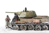 Miniature with old soviet t 34 tank — Stock Photo