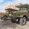 Katyusha multiple rocket launchers on parade — Stock Photo