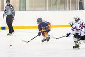 Moment of game between children ice-hockey teams — Foto Stock