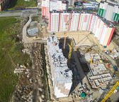 Bird's eye view on construction site in Tyumen — Stock Photo