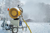 Snowgun makes snow — Stock Photo