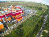 Aerial view on iron and steel works factory — 图库照片