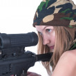 Постер, плакат: Beautiful young woman aims on sniper rifle