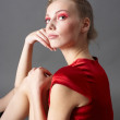 Sexy slim woman in red dress — Stock Photo #5114753