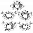 Set of vector heart frame with butterfly - Stok Vektör