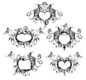 Set of vector heart frame with butterfly — Stock vektor