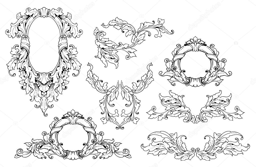 Set of baroque elements stock vector ninanaina 21078573 for Baroque architecture elements