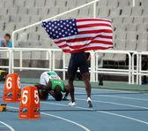 Idrottare efter på 400 meter häck final på de 2012 iaaf junior vm i friidrott den 13 juli, 2012 i barcelona, spanien — Stockfoto