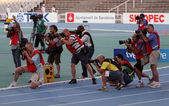 Photographers on the 2012 IAAF World Junior Championships on July 13, 2012 in Barcelona, Spain. — Stock Photo