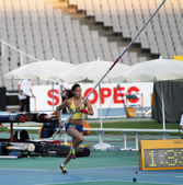 Angelica Bengtsson - winner of the pole vault competition on the 2012 IAAF World Junior Athletics Championships on July 14, 2012 in Barcelo — Stock Photo