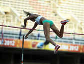 Liz Parnov from Australia celebrates silver medal in pole vault competition on the 2012 IAAF World Junior Athletics Championships on July 14, 2012 in Barcelona, Spain — Stock Photo