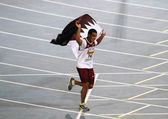Ashraf Amgad Elseify of Qatqr wins Men's Hammer Throw Final on the IAAF World Junior Championships on July 14, 2012 in Barcelona, Spain. — Stock Photo