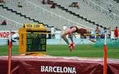 High jumper Melina Brenner competes in the high jump on the 2012 IAAF World Junior Athletics Championships on July 15, 2012 in Barcelona, Spain — Foto de Stock