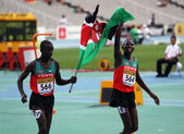 Gilbert Kiplangat Kirui and Conseslus Kipruto - winners of 3000 Metres Steeplechase on IAAF World Junior Athletics Championships on July 15, 2012 in Barcelona, Spain — Stock Photo