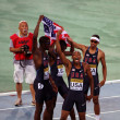American team - the winners of the 400 meters relay race on th 2012 IAAF World Junior Athletics Championshipson on July 15, 2012 in Barcelona, Spain. - Stock Photo