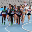 Athletes compete in the 1500 metres final on the 2012 IAAF World Junior Athletics Championships on July 15, 2012 in Barcelona, Spain — Stock Photo