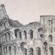 Roman cityscape of the Colosseum painted by ink — Stock Photo