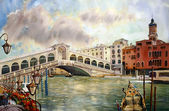 A view of the canal with Rialto bridge, boats and buildings in Venice, painted by watercolor — Stock Photo