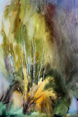 Abstract landscape painted by watercolor — Stock Photo