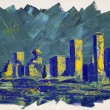 Abstract painting with Vancouver towers — Stock Photo