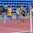 Finish of the 200 meters race on the Ukrainian Track & Field Championships on June 01, 2012 in Yalta, Ukraine. — Stock Photo