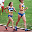 Galchenko Alina and Olianovskaia Ludmila wins on 10.000 meters race walk on Ukrainian Track & Field Championships on June 01, 2012 in Yalta, Ukraine. — Stock Photo