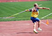 Kushniruk Yri wins javelin on Ukrainian Track & Field Championships on June 01, 2012 in Yalta, Ukraine — Stock Photo