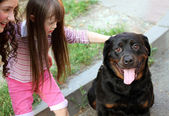 Little girl with a big black dog — Stock Photo