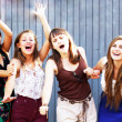 Students girls having fun outside — Stock Photo