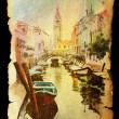 Venice on vintage texture old paper . — Stock Photo