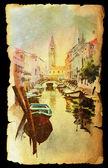 Venezia su vecchia carta di texture vintage . — Foto Stock