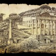 Roman Forum cityscape painted by ink on the old paper isolated on black — Stock Photo